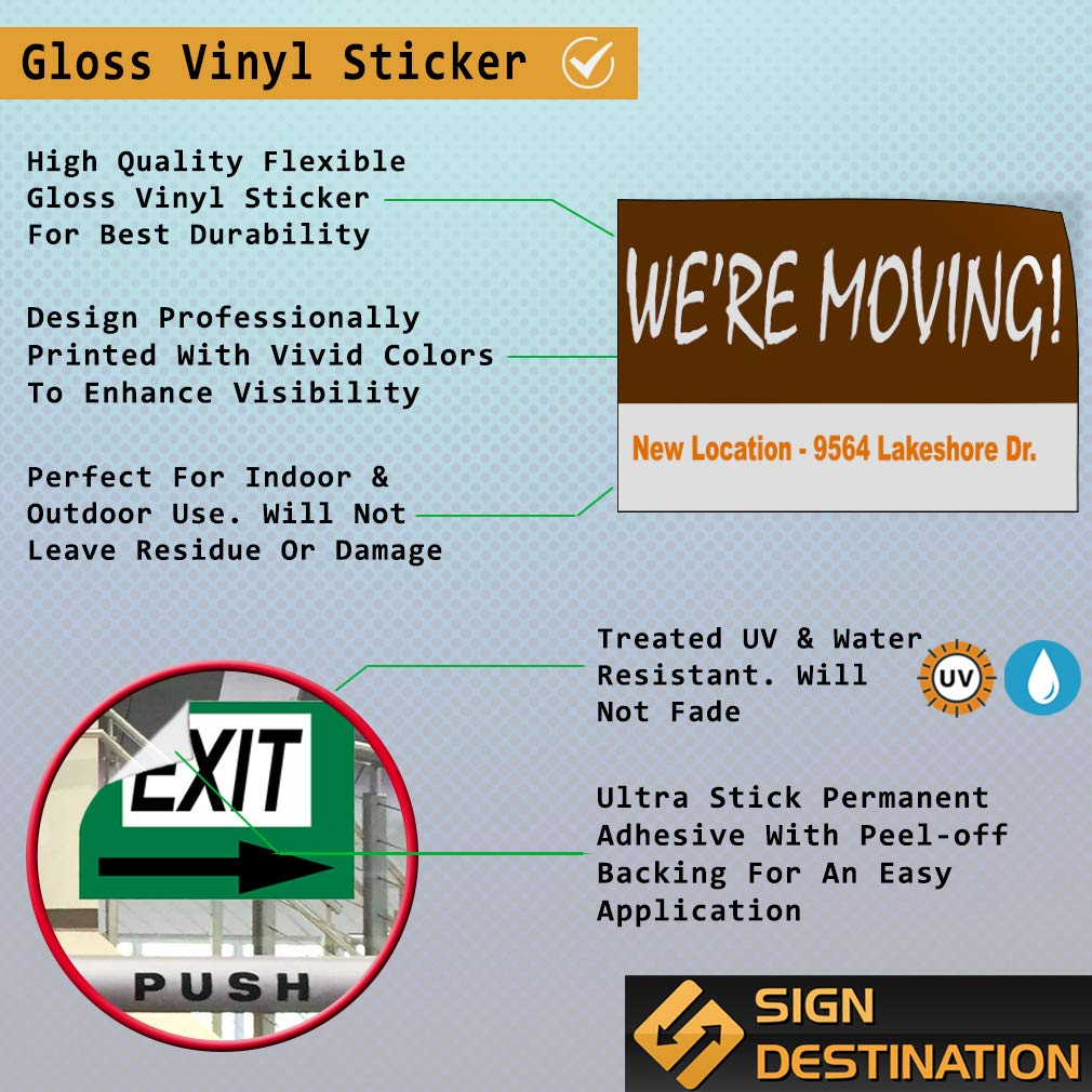 Custom Door Decals Vinyl Stickers Multiple Sizes Were Moving New Location Address Business Weve Move Outdoor Luggage /& Bumper Stickers for Cars Brown 54X36Inches Set of 2