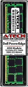 A-Tech 4GB RAM for Dell PowerEdge R410, R415, R510, R515, R610, R710, R715, R815 Servers | DDR3 1333MHz ECC-RDIMM PC3-10600 2Rx4 1.5V 240-Pin ECC Registered DIMM Server Memory Upgrade Module