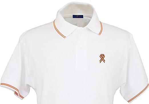 Pi2010 – Polo España Blanco, Bordado Lazo Bandera de España en Pecho, Bandera española en Cuello y Mangas, 100% algodón: Amazon.es: Ropa y accesorios
