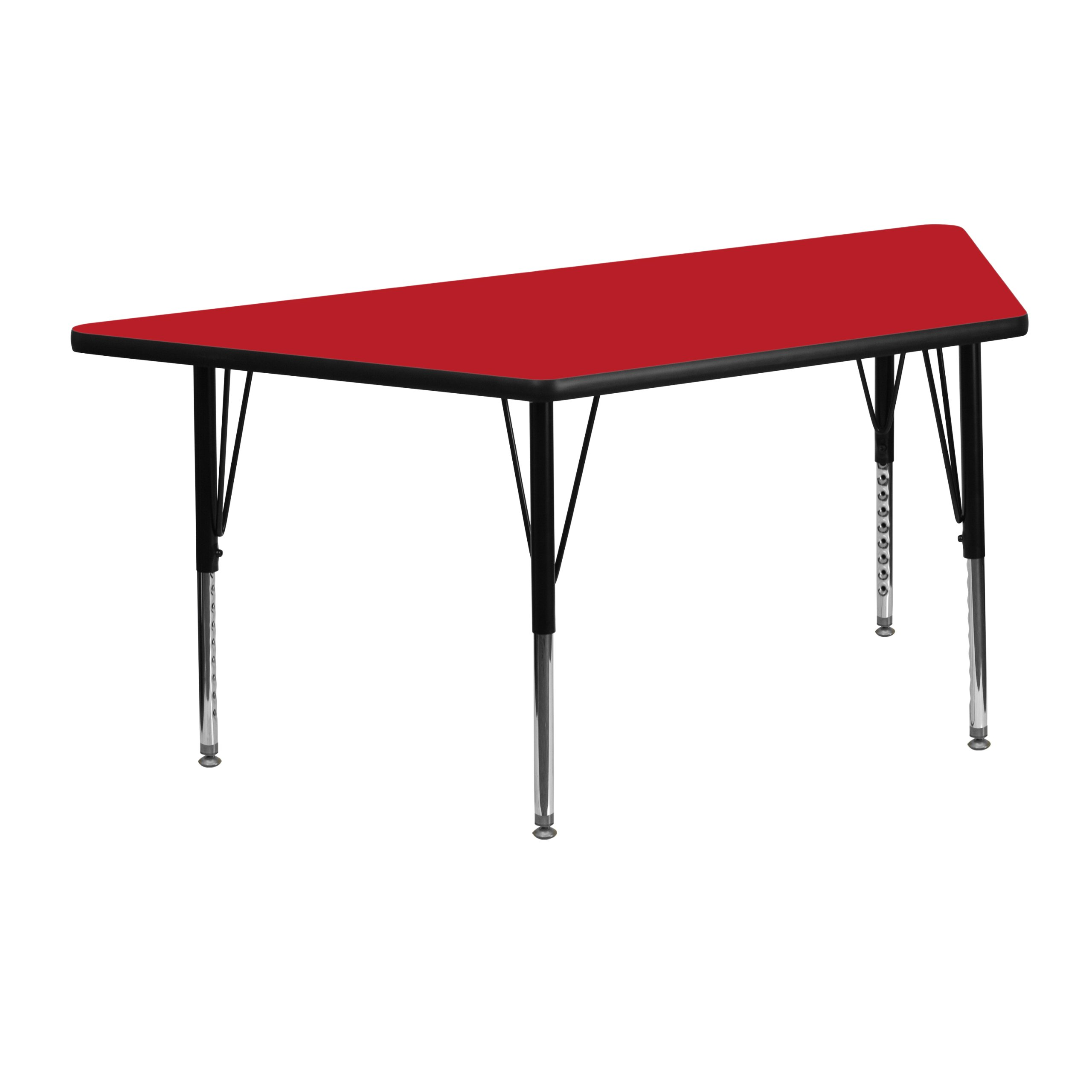 Flash Furniture 25.5''W x 46.25''L Trapezoid Red HP Laminate Activity Table - Height Adjustable Short Legs