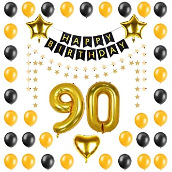 PALASASA Birthday Party Decorations Kit Happy BannerGold 90 Foil Balloon Five
