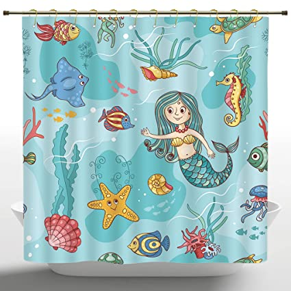 FMSHPON Generic Funny Beautiful Mermaid Shower Curtain 100/% Polyester Waterp...