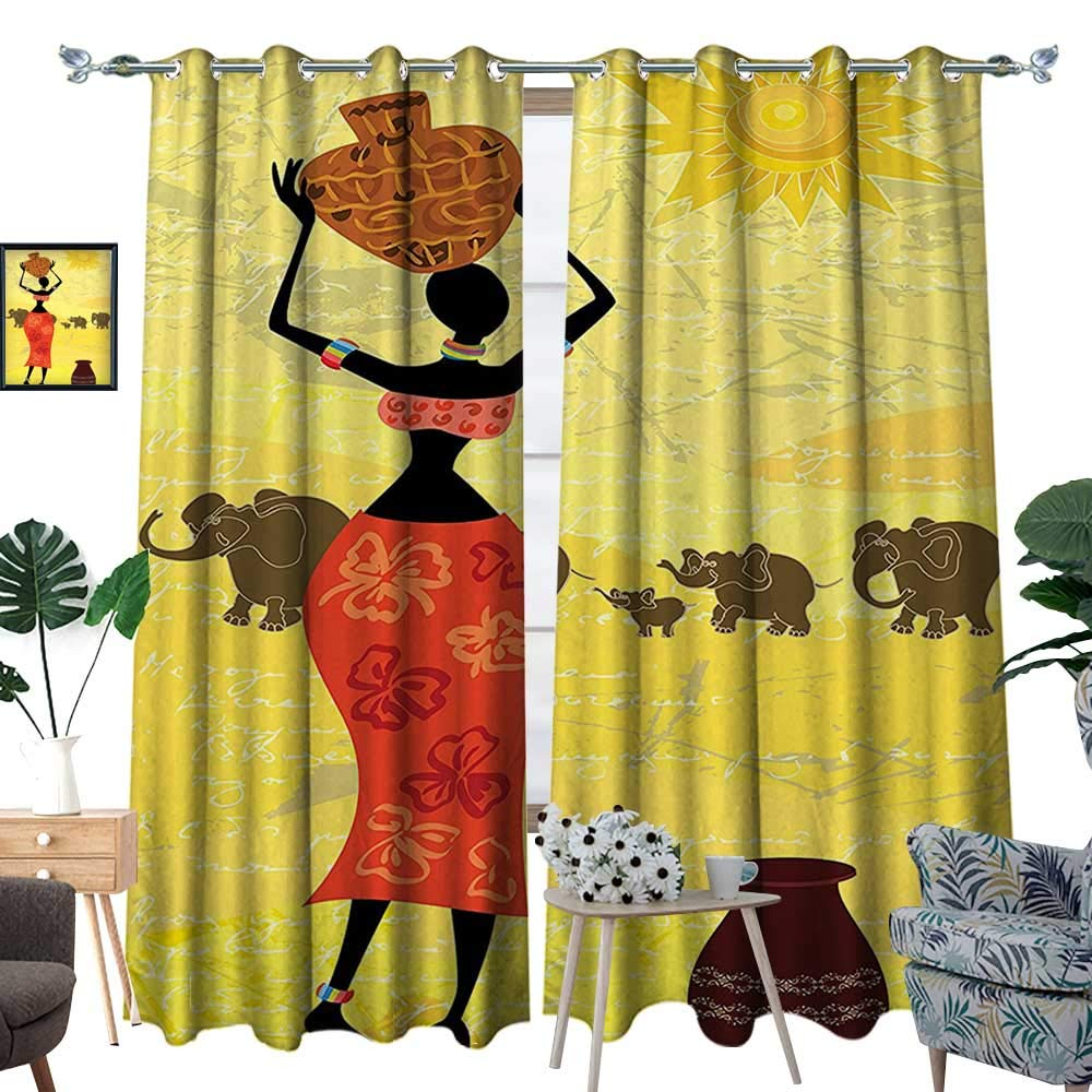 color09 luvoluxhome Blackout Curtain Patio Sliding Door Curtain for Living Room Bedroom Vintage Elegance Lady Carrying Pot Native Grace Savannah Exotic Female Graphic B 108 X72