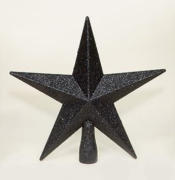 Black Christmas Tree Top Star Topper Glitter Finish 20cm