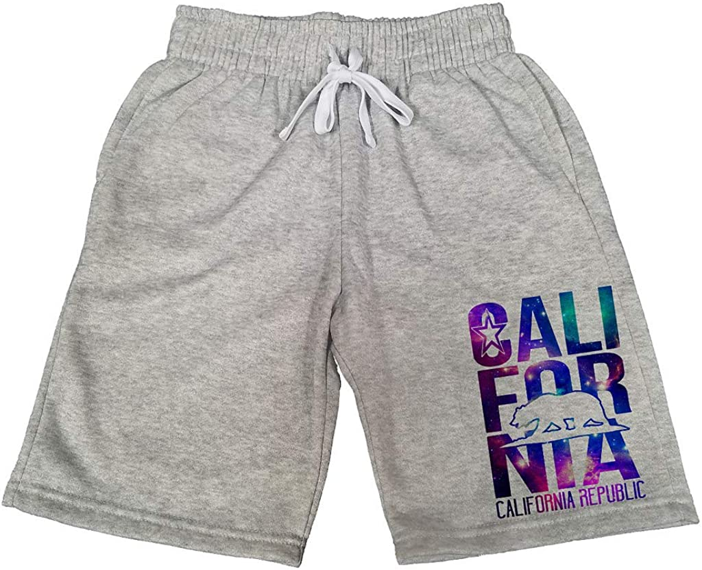 Mens Galaxy California Republic Bear B431 Gray Fleece Jogger Sweatpants Gym Shorts