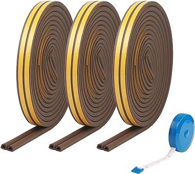 burletes ZoomSky 24 metros para sellar la puerta y la ventana de tira de sellado en forma de D de junta de goma burlete autoadhesivo con regalo de gobernante (marrón): Amazon.es: Bricolaje