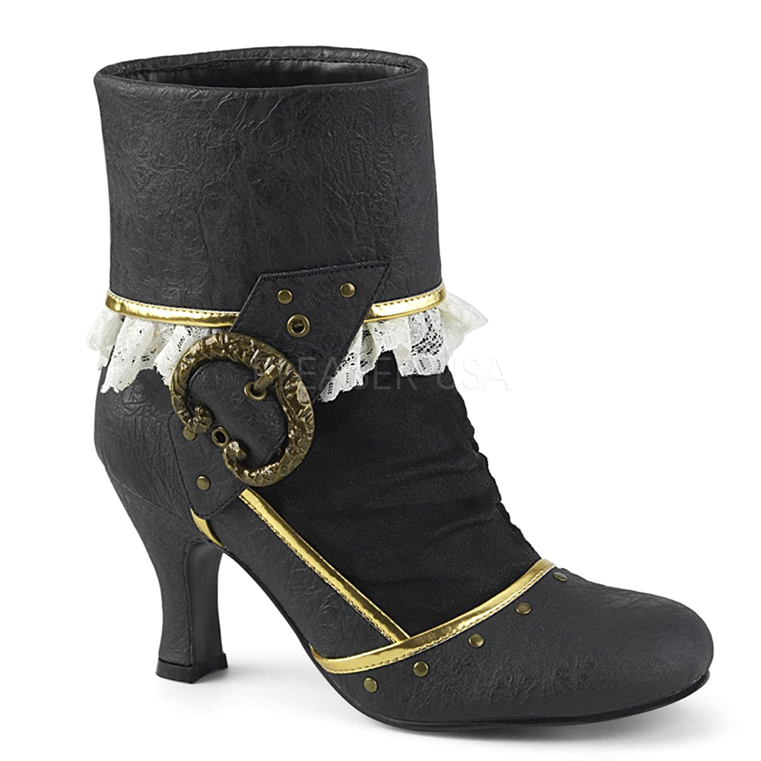 Women's Black & Gold Matey Buckle Lace Trim Ankle Boots - DeluxeAdultCostumes.com