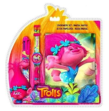 Juego Trolls (reloj digital + bloc de notas + bolígrafo multicolor) con licencia oficial.: Amazon.es: Juguetes y juegos