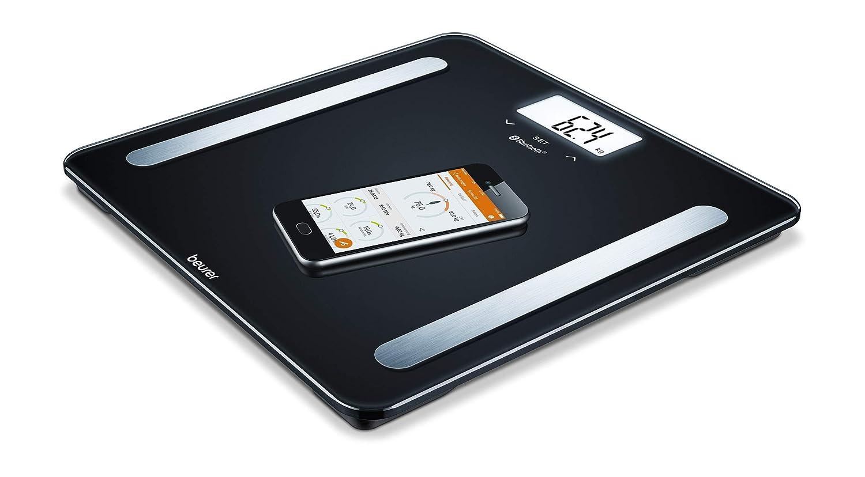 Beurer BF 600 Báscula digital de diagnóstica con IMC y función Bluetooth, de vidrio, con App en español, color negro, 30 x 30 x 2.1 cm, 1.55 kg: Amazon.es: ...