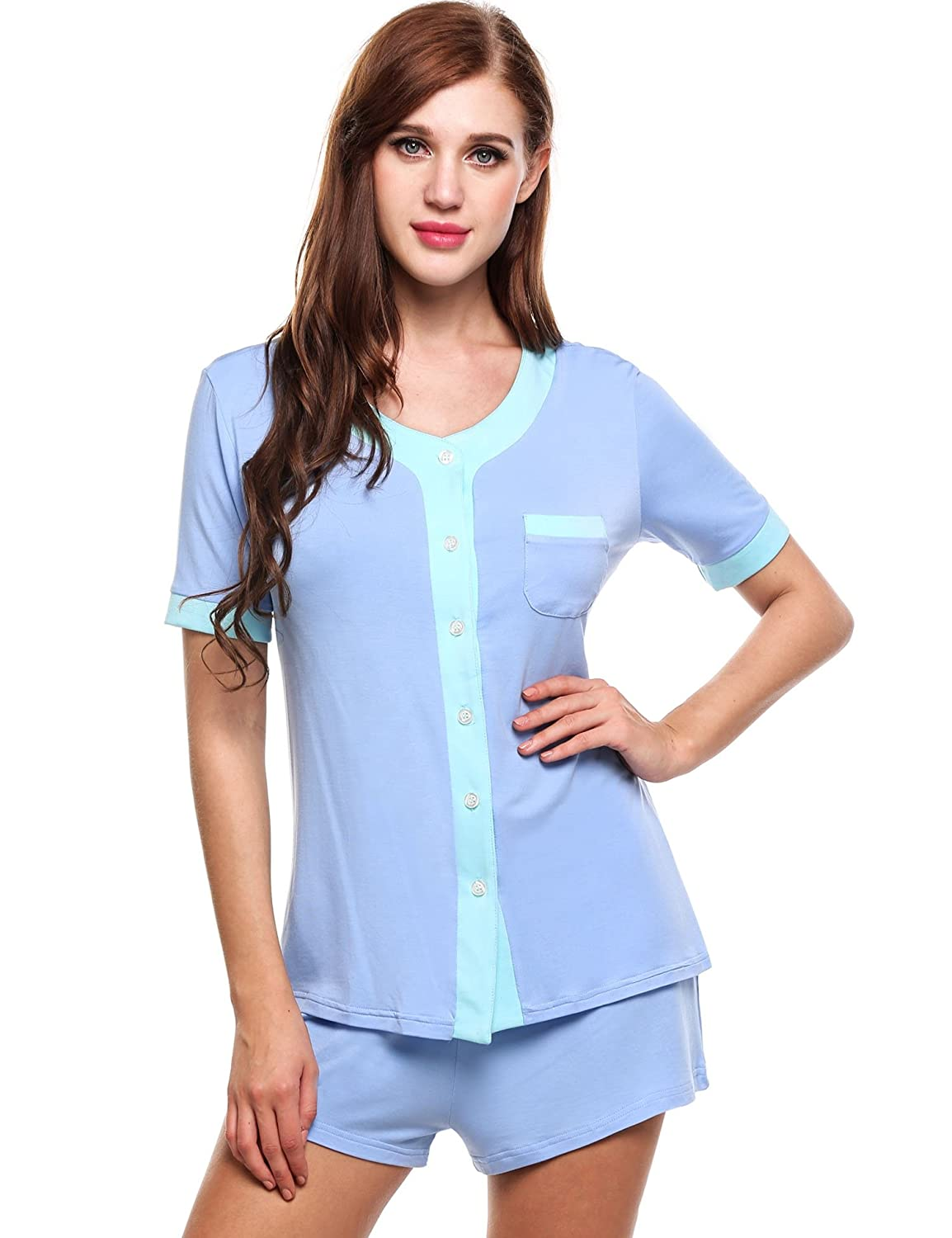 c27181510b Ekouaer Womens Button Pajama Set Comfy Short Sleeve Sleepwear with PJ  Shorts at Amazon Women s Clothing store