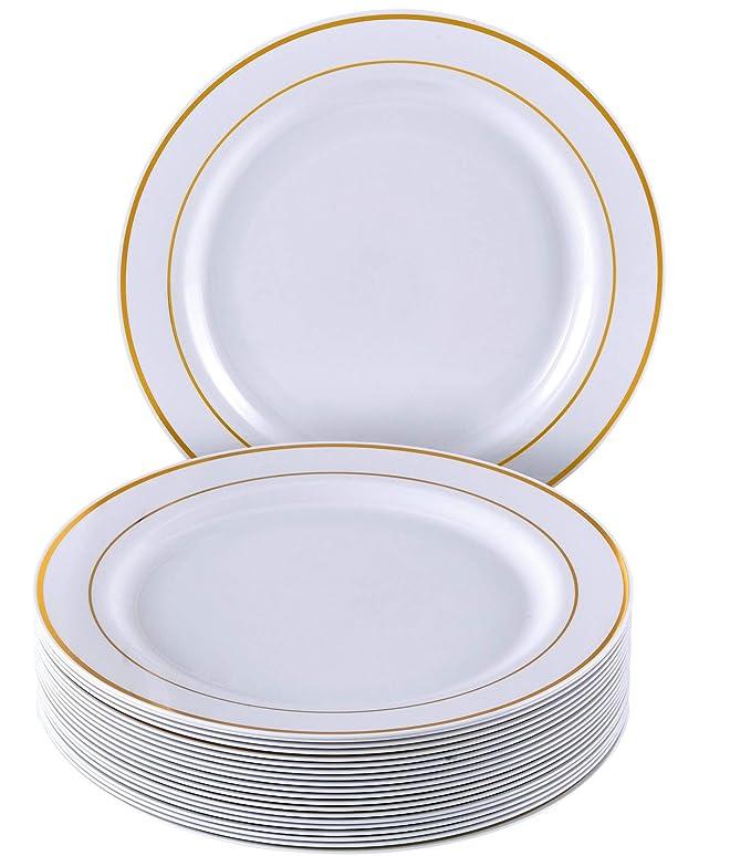 VAJILLA PARA FIESTAS DESECHABLE DE 20 PIEZAS | 20 platos grandes| Platos de plástico resistente | Elegante aspecto de porcelana fina | Para bodas y comidas ...