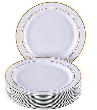 VAJILLA PARA FIESTAS DESECHABLE DE 20 PIEZAS | 20 platos grandes| Platos de plástico resistente