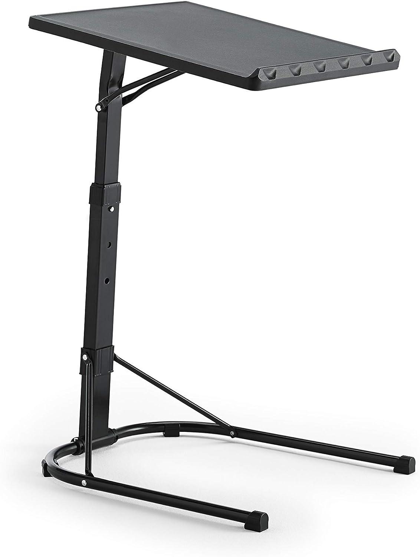 Kithome Multitable - Mesa Auxiliar Plegable con Altura Ajustable, Negro, 43x43x63/68/73cm