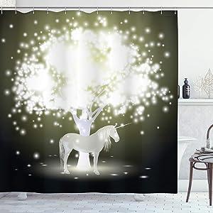 "Ambesonne Magic Shower Curtain, Unicorn Horse Under Mystic Tree with Human Fantasy Artwork Design, Cloth Fabric Bathroom Decor Set with Hooks, 75"" Long, Golden Green"