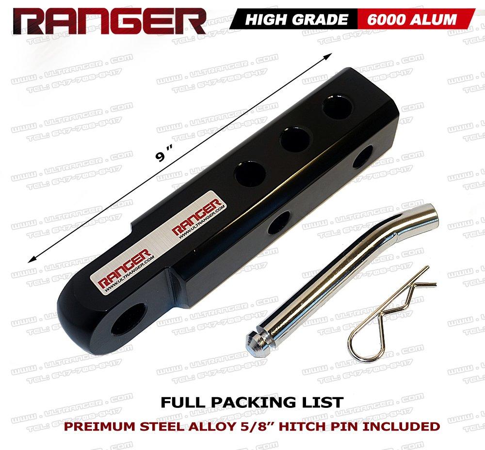 Ranger 2 Extended Aluminum Hitch Receiver 3//4 Shackle Adapter 20,000 LBs Glossy RANGER ULTRANGER HL-BLACK Black