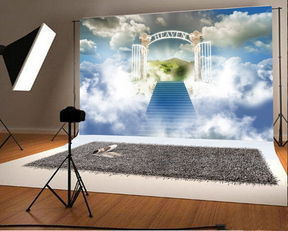 Laeacco 7x5ft vinyl photography background heaven gate stairway to heaven sky clouds landscape heavenly photographic background decoration wedding backdrop