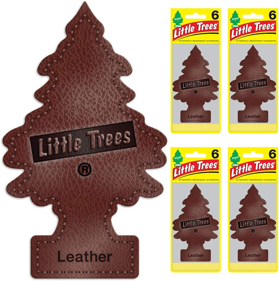 Little Trees Car Air Freshener | Hanging Tree Provides Long Lasting Scent for Auto or Home | Leather, 6-Packs (4 Count)