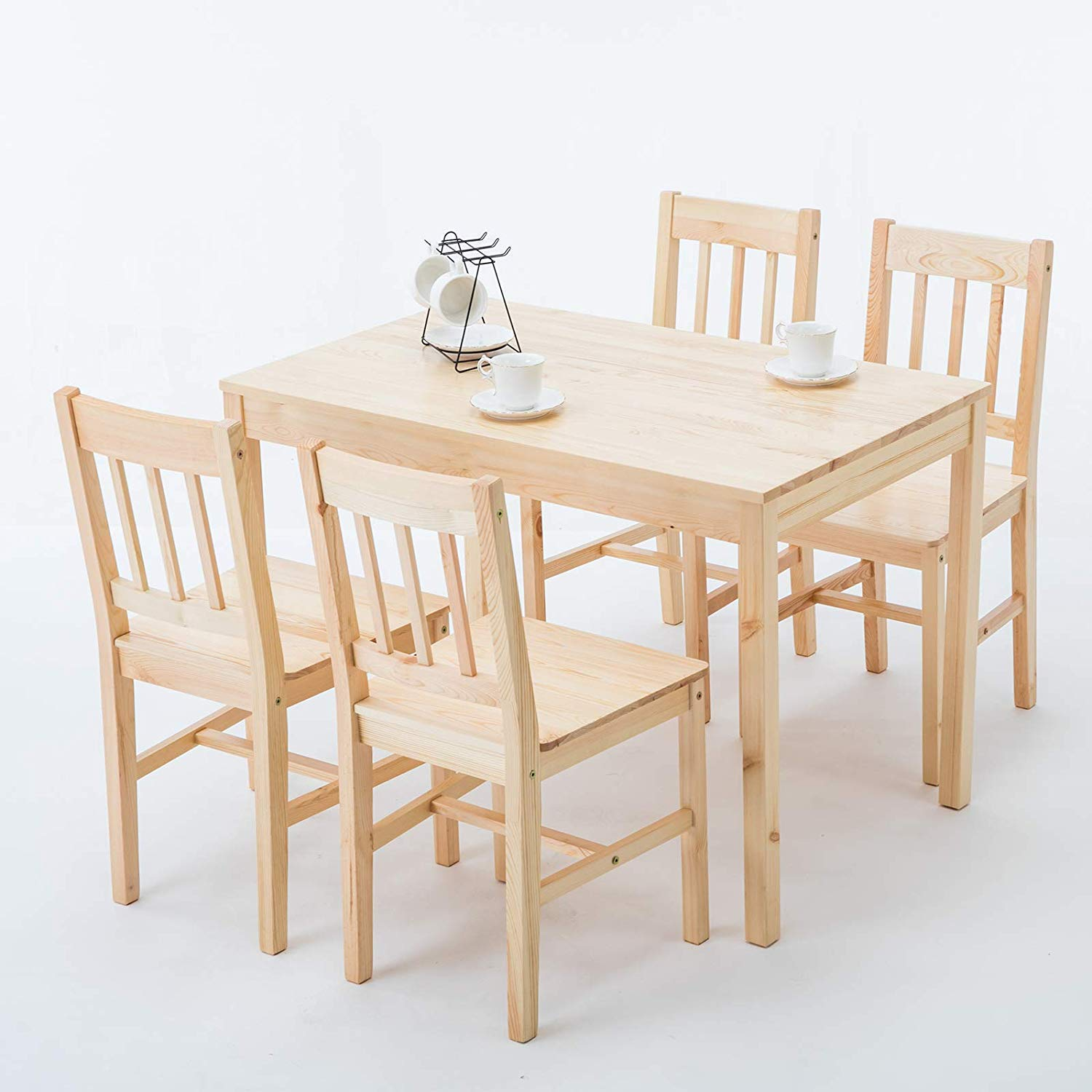 mecor 5 Piece Kitchen Dining Table Set, 4 Wood Chairs Dinette Table Kitchen Room Furniture (Burlywood) by mecor