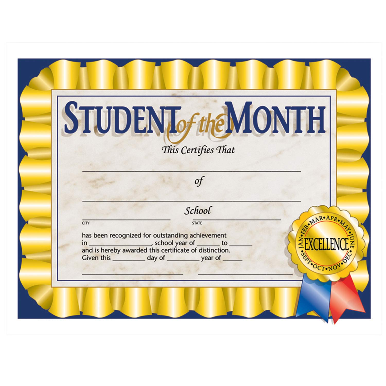 Hayes H-VA528BN Student of The Month Certificate, 8.5'' x 11'', 30 Per Pack, 6 Packs, Multicolor