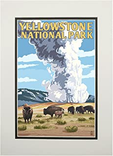 product image for Yellowstone National Park, Wyoming - Old Faithful Geyser and Bison Herd (11x14 Double-Matted Art Print, Wall Decor Ready to Frame)