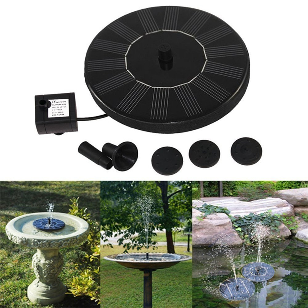HUANGYABO Solar Powered Fountain Pump Outdoor Fountain Watering Pump Bird Bath Water Bath by HUANGYABO