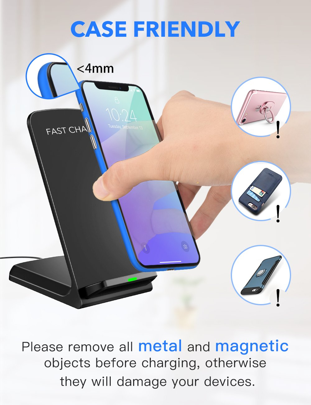 Seneo Iphonex Wireless Charger Qi Certified 10w Fast