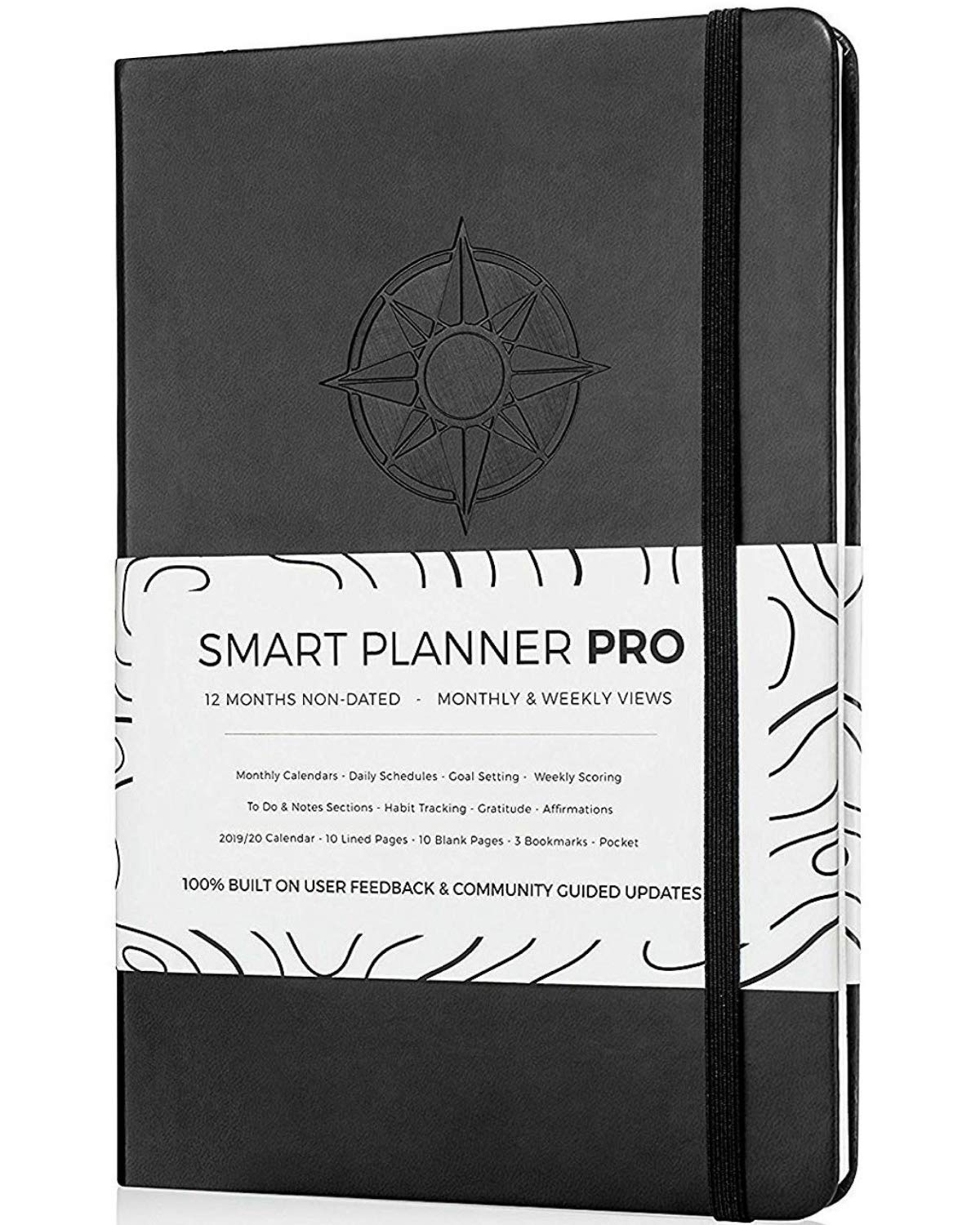 Planner 2019-2020 - Tested & Proven to Achieve Goals & Increase Productivity, Time Management & Happiness - Daily Weekly Monthly Planner with Gratitude Journal, Hardcover, Undated (Black)