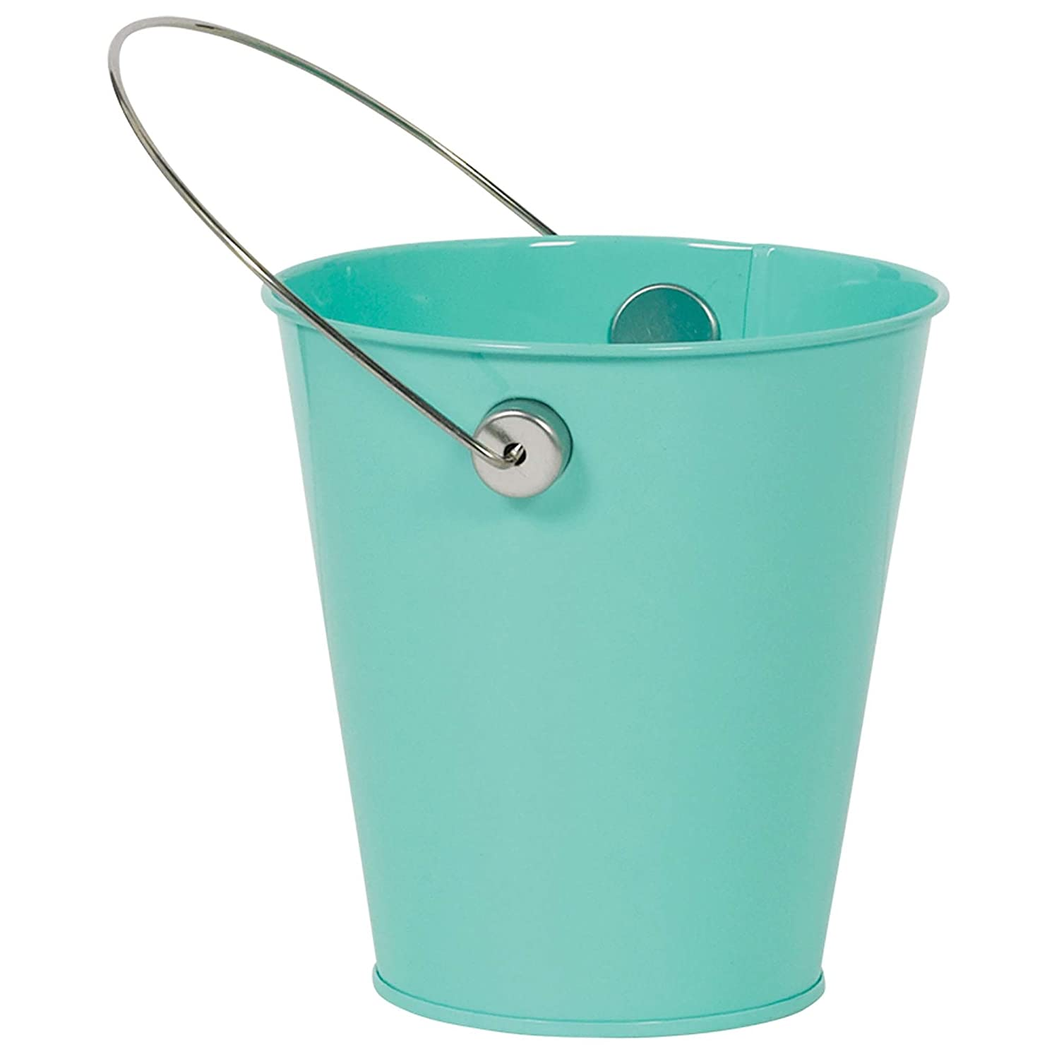 Amscan 432589.54 Blue Caribbean Decorative Metal Mini Bucket with Handle Childrens Costume Accessories 4 1//2,