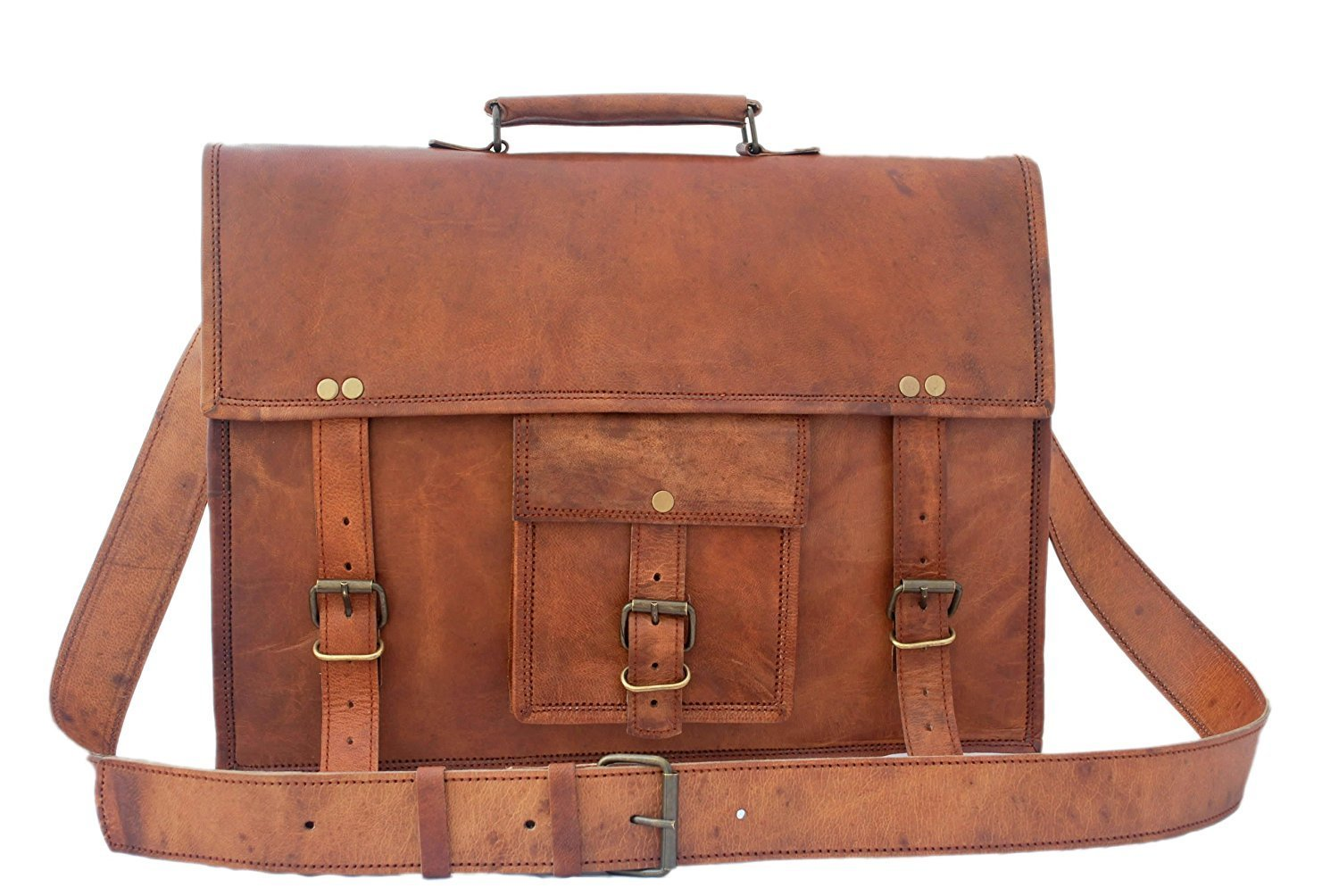 16 Inch Leather Vintage Rustic Crossbody Messenger Courier Satchel Bag Gift Men Women ~ Business Work Briefcase Carry Laptop Computer Book Handmade Rugged & Distressed~ Everyday Office (16)