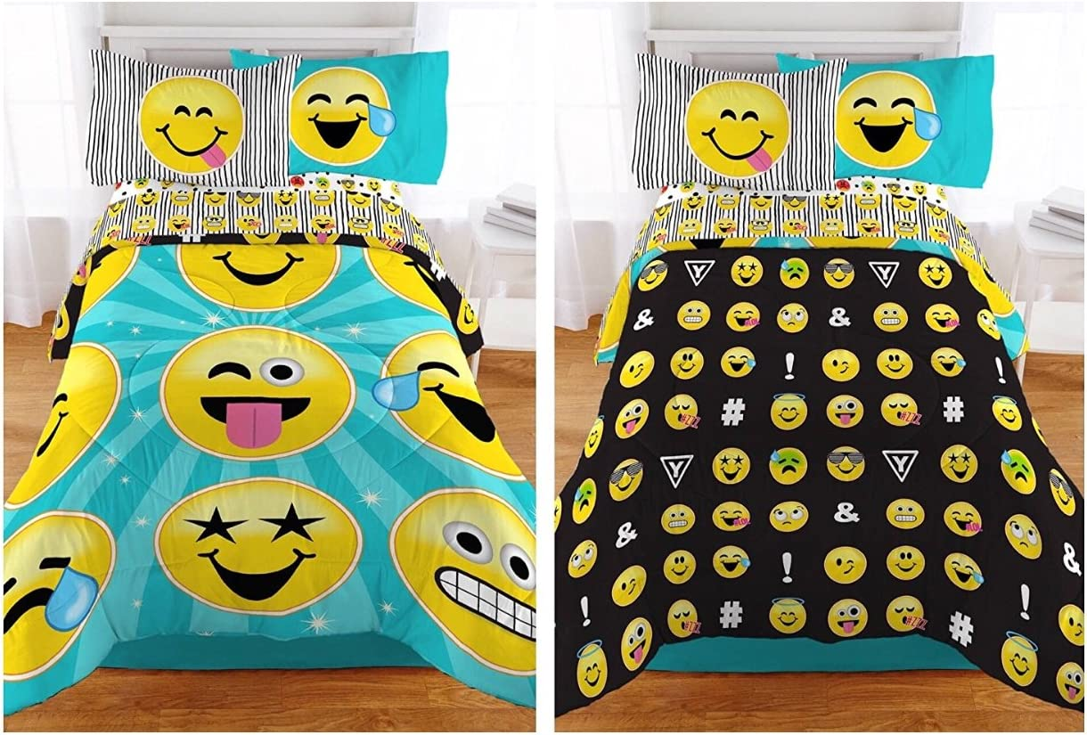 Emojination Forever Happy Emoji Microfiber Twin Comforter 64 x 86