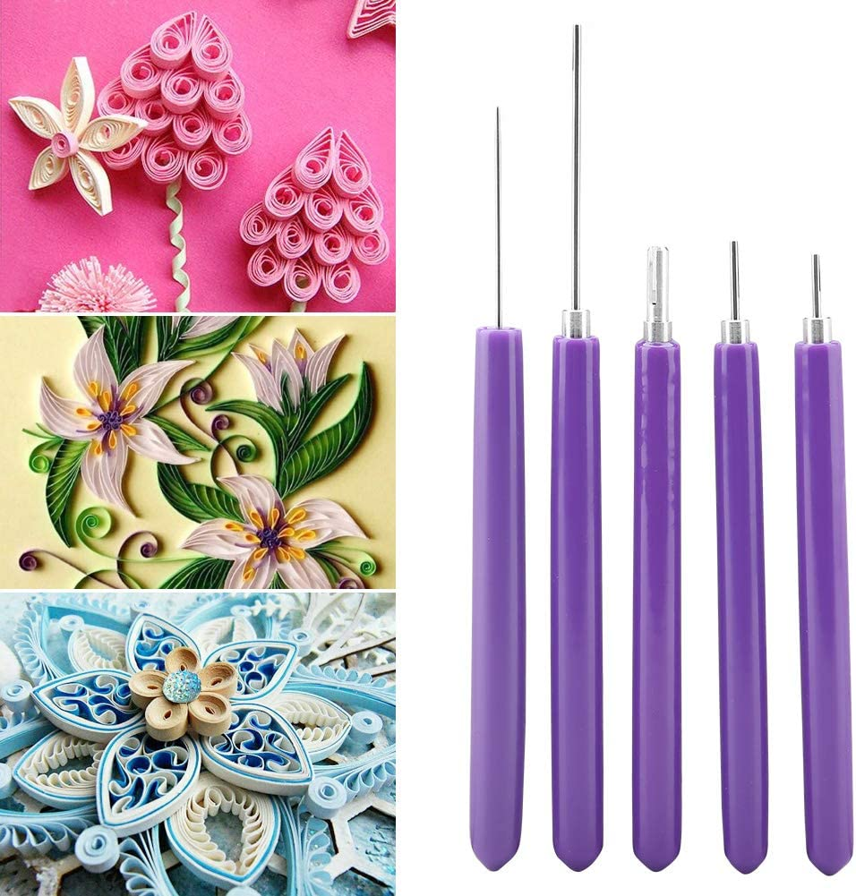 Purple Paper Quilling Tools 5pcs Different Sizes Quilling Slotted Kit 5 in 1 Slotted Paper Quilling Tools Kits Handmade Rolling Curling Quilling Needle Pen for 3D Art Craft DIY Paper Card Making