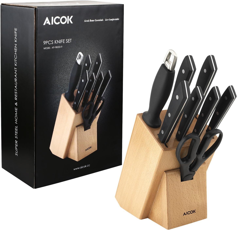Aicok - Juego de cuchillos de cocina profesional de 9 piezas con bloque de madera, juego de cuchillos de acero inoxidable de alto carbono: Amazon.es: Electrónica