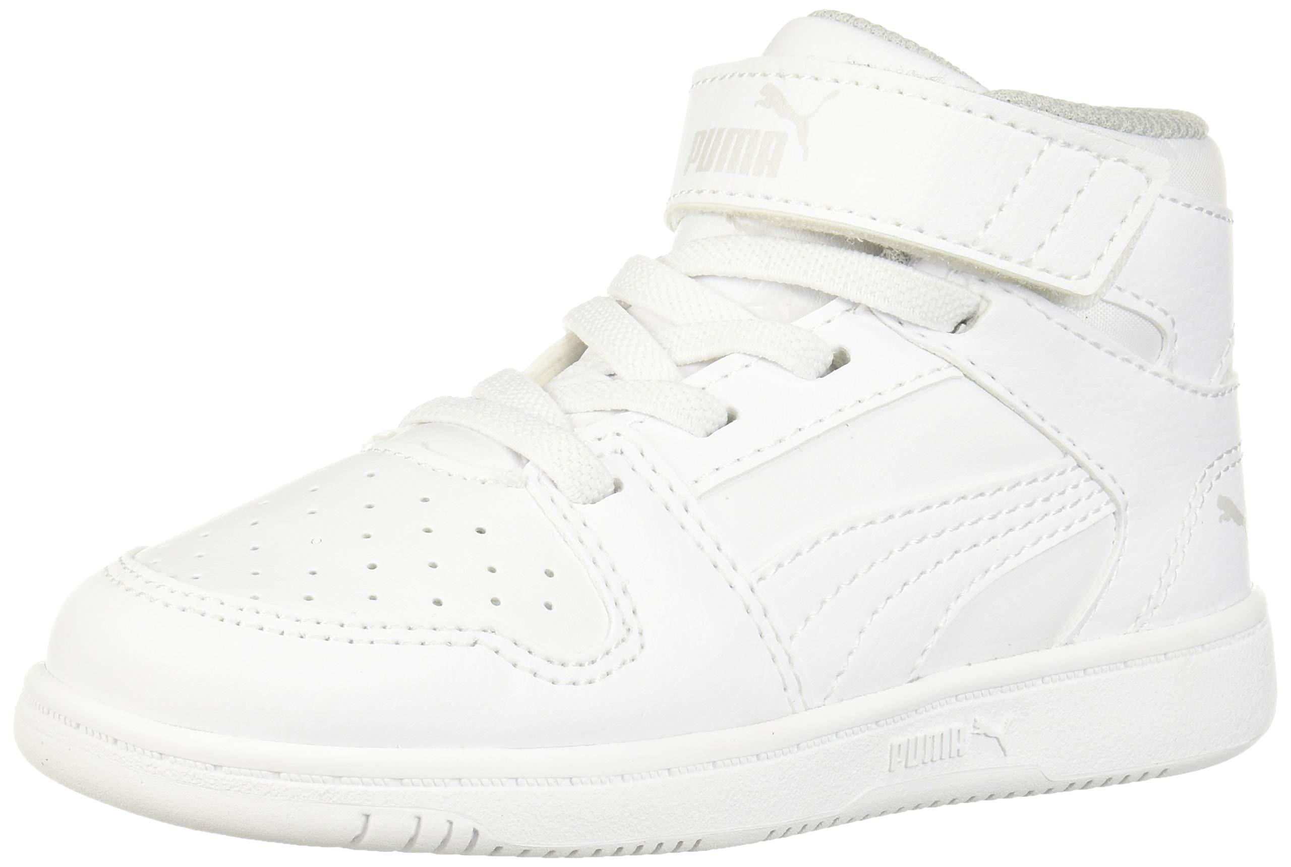 PUMA Baby Rebound Layup Velcro Sneaker, White Black-Gray Violet, 8 M US Toddler by PUMA