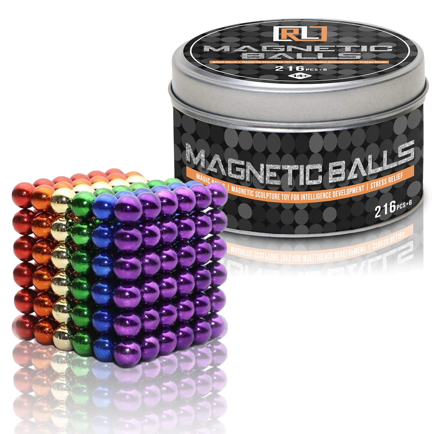 R&L Magnetic Sphere 216 PCS + 6, 5mm Fidget Toy for Education and Intelligent Development (Multi-Color) by R&L (Image #1)