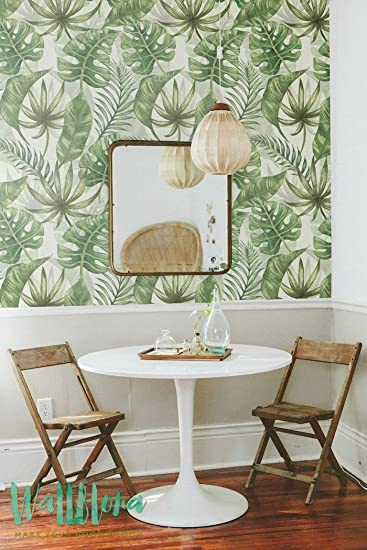 Tropical Pattern Wallpaper   Exotic Removable Wallpaper   Palm Leaves  Wallpaper   Exotic Wall Sticker