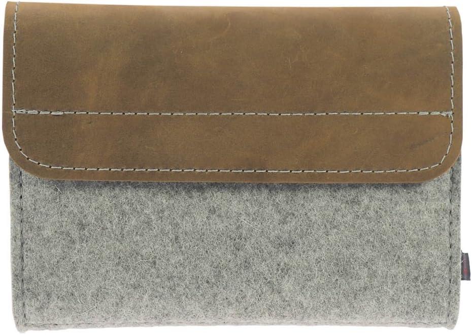 Estuche de medicamentos de ebos ✓ Botiquín de viaje homeopáticos ✓envase para glóbulos fabricado en fieltro de lana y cuero auténtico ✓ 64 lazos para tubos de glóbulos (gris claro/marrón cuero): Amazon.es: