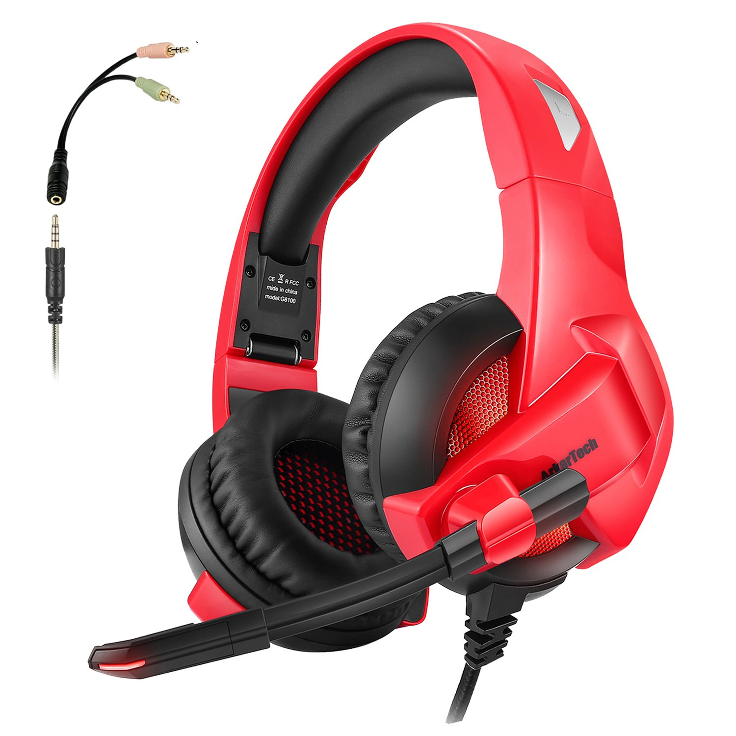 Folding Gaming Headset for Xbox One PS4, ARKARTECH Noise Cancelling Over Ear Headphones with Mic, LED Light, Bass Stereo Sound, Soft Memory Earmuffs Volume Control for PC,Laptop, Tablet, Mobile