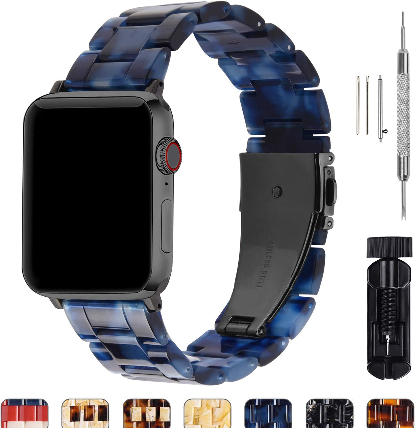 Fullmosa Compatible Apple Watch 44mm/42mm/40mm/38mm, Bright Resin Apple Watch Band for iWatch SE & Series 6/5/4/3/2/1, Hermes, Nike+, Edition, Sport, Abyssal Sea(Smoky Grey Hardware) 44mm