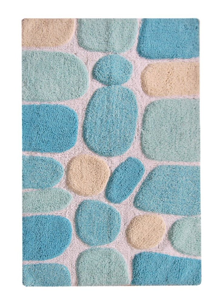 Chardin Home - 100% Pure Cotton Pebbles Bath Rug,  Large,  27'' W x 45'' L, Turquoise – Easy Care Machine Wash - Super soft mat  hand crafted & hand embossed by Skilled Artisans Large oblong 27 inch x 45 inch plush & soft bath rug to decorate your bathroom Plush & super absorbent cotton pile for long lasting life - bathroom-linens, bathroom, bath-mats - 71RifzBQTwL -