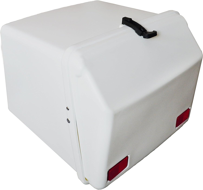 Portaequipajes Moto baúl Reparto Blanco con Reflectantes homologados, Cierre de Goma: Amazon.es: Coche y moto