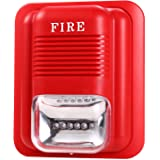 UHPPOTE Wired 12/24VDC Sound and Light Fire Alarm Warning Strobe Siren Horn Sound Alert Safety System Sensor