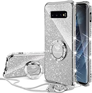 OCYCLONE Galaxy S10 Case, Glitter Luxury Cute Phone Case for Women Girls with Kickstand, Bling Diamond Rhinestone Bumper with Ring Stand Compatible with Galaxy S10 Case for Girl Women - Silver