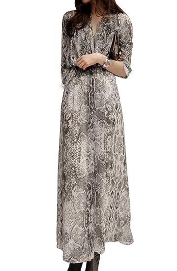 BININBOX® Damen Chiffon Kleid mit Schlangemuster Elegant Langarm Kleid  V-Ausschnitt Sommerkleid lang Maxi 9bf33a2d8f