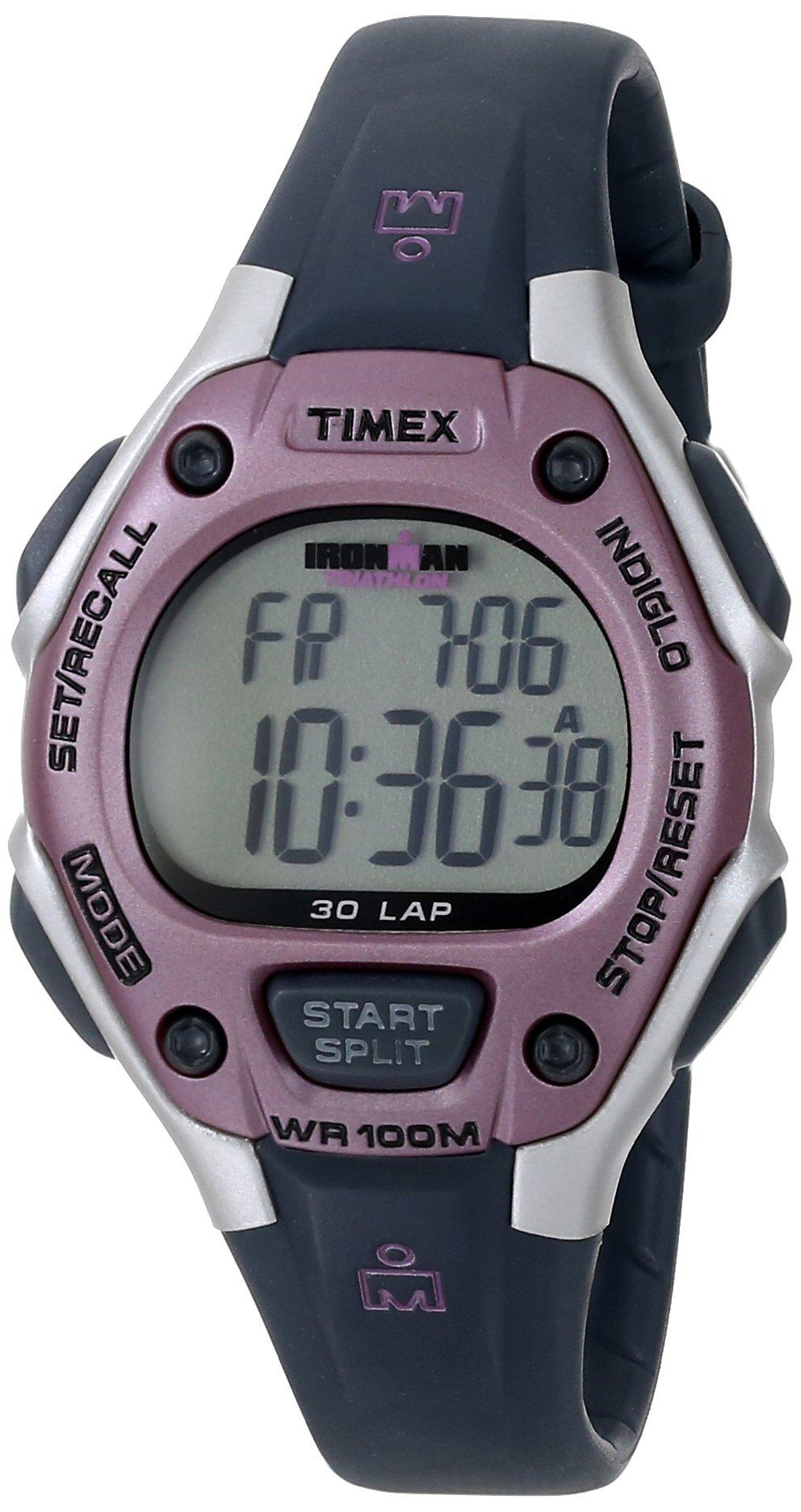 Timex Women's Ironman 30-Lap Digital Quartz Mid-Size Watch, Gray/Pink - T5K020