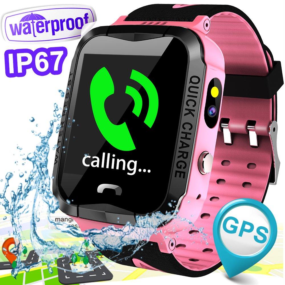 IP67 Waterproof Kids Smartwatch Phone Best School Gift Girls boys GPS Tracker Locator Pedometer Fitness Tracker Camera Games Light Anti Lost Alarm Sport Watch for iOS Android Run Swim Outdoor Birthday