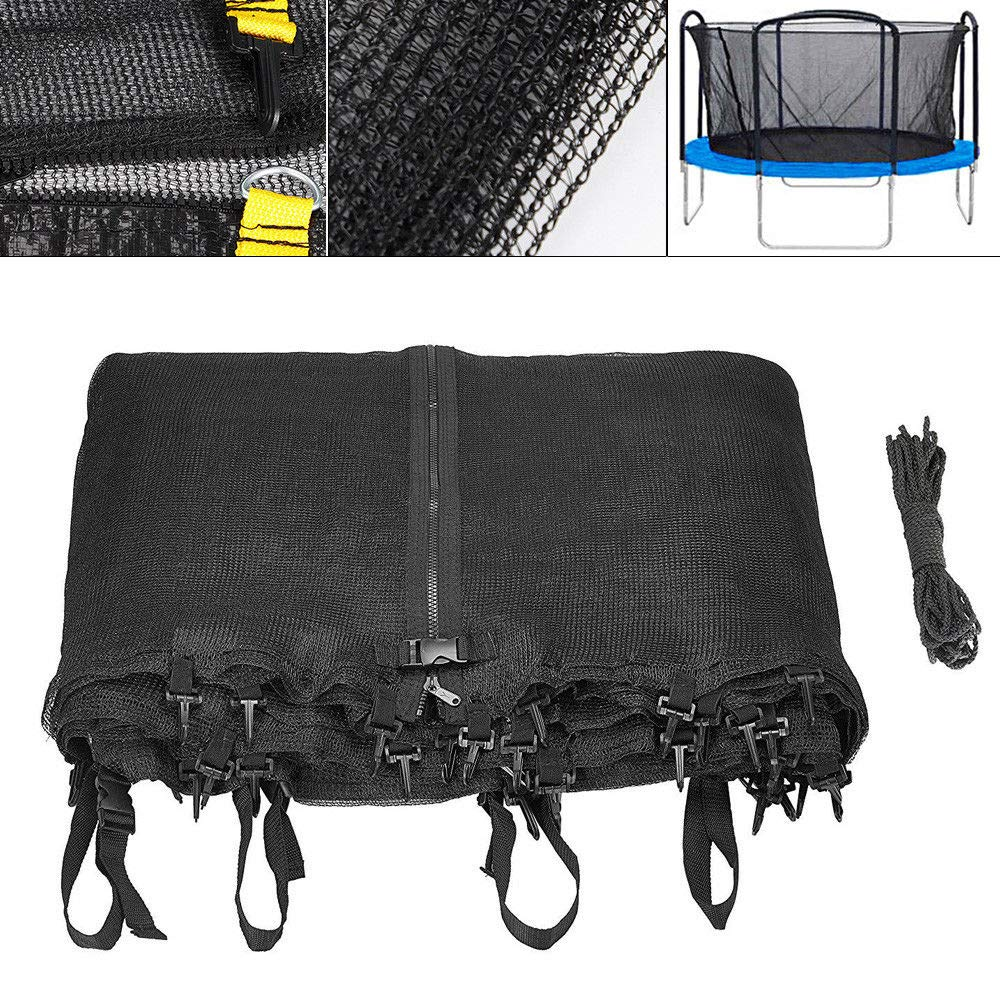 YIWON Trampoline Enclosure Safety Net Fits 12' Bounce Frames Using 8 Poles or 4 Arches fit for Round Frames
