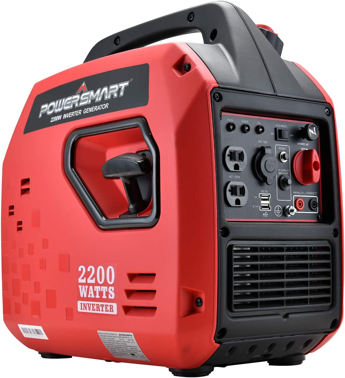 PowerSmart Generator, Super Quiet Generator, 2200 Watts Portable Inverter Generator, Gas Powered Generator, Fuel Shut Off, CARB Compliant Red/Black, PS5025