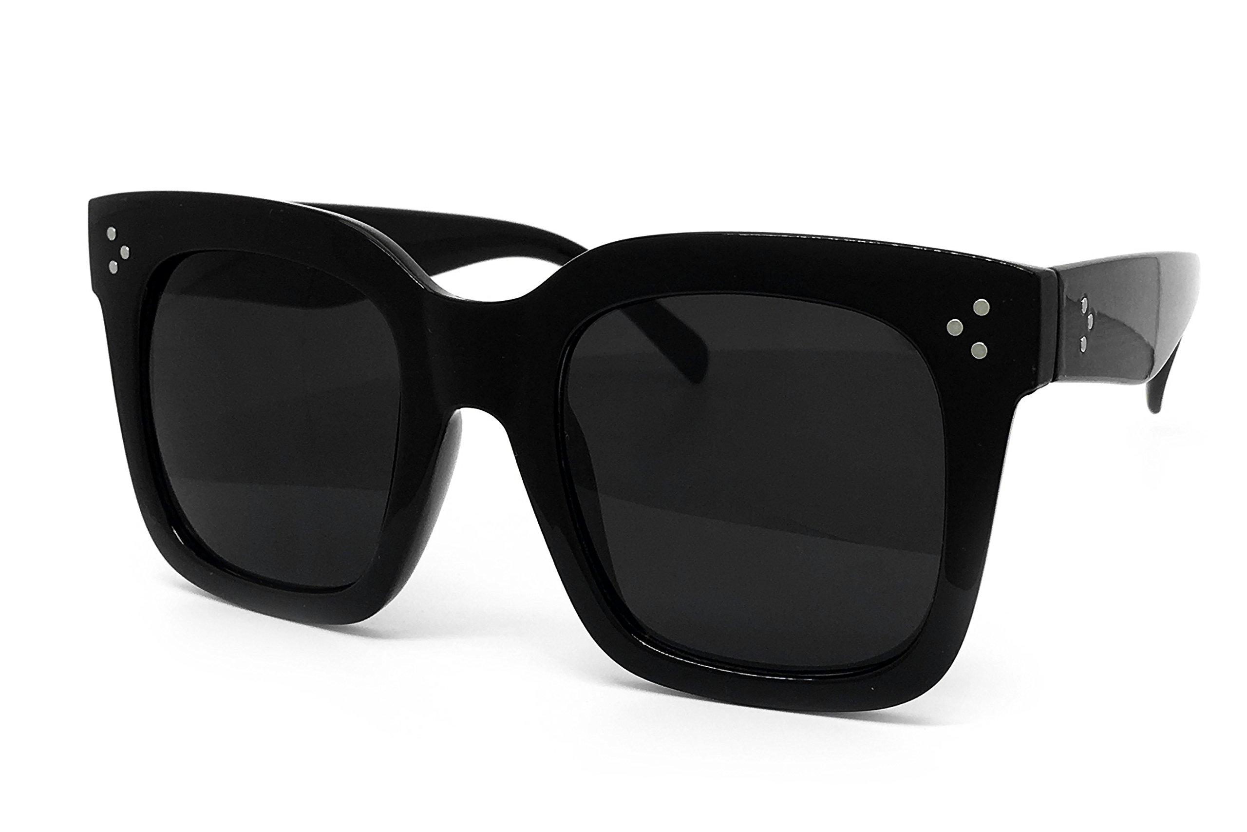 O2 Eyewear 7222 Premium Oversize XXL Women Men Mirror Revo Havana Tilda Shadow Style Fashion Sunglasses (SOLID BLACK, TILDA HAVANA)