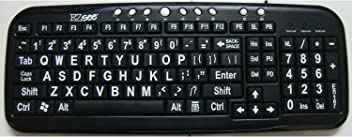 e21562955a4 EnableMart LARGE PRINT Keyboard - Black Keys, White Print