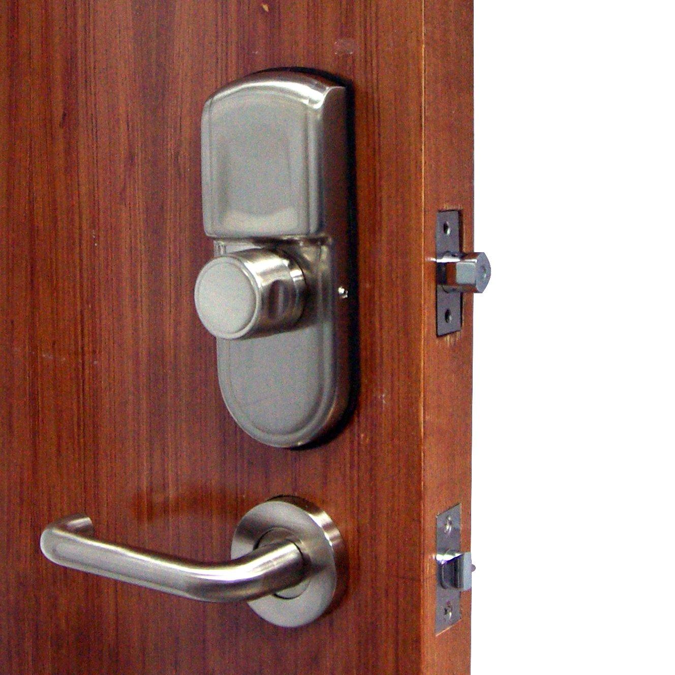 Assa Abloy Digi Keyless Hardware Electronic Digital Keypad Fingerprint Door Lock Deadbolt Deadlock Knob Lever Handle Handleset 98b High Security (Satin ...